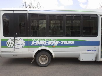 Close up of side view RHT bus