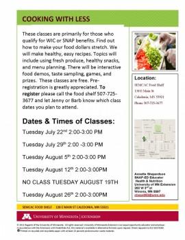 Food shelf class flyer