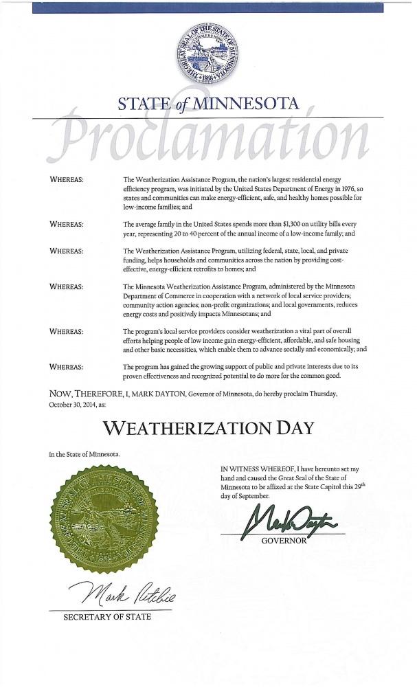 Weatherization Day Proclamation 2014