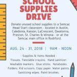 School Supplies Drive for Head Start, Aug 24 – 31